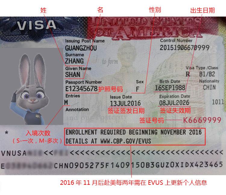 美国签证翻译